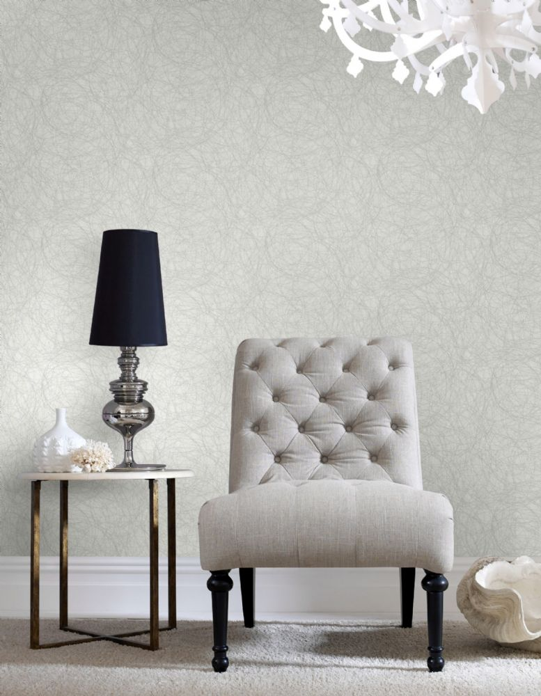 Graham and Brown Twist White/Silver 101427 Wallpaper